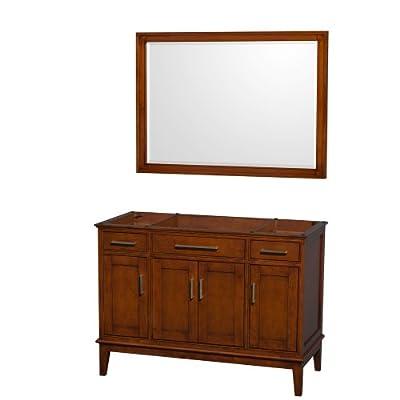 "Wyndham Collection Hatton 48"" Single Bathroom Vanity in Light Chestnut, No Countertop, No Sink & 44"" Mirror"