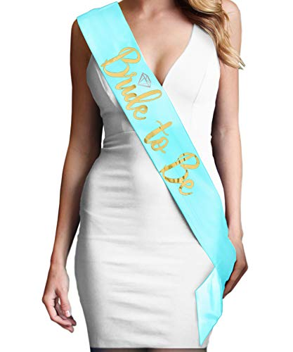 Bachelorette Party Decorations - Metallic Gold Diamond Bride To Be Premium Satin Sash - Bridal Shower Supplies - Light Aqua Blue