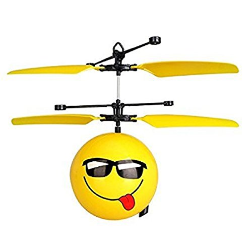 LilPals Emoji Mini RC Flying Magic Fun Illuminated Ball, RC Infrared Induction USB Helicopter Ball With Built-In Shinning LED Lighting For Kids, Teenagers.