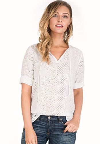CAMIXA Women's Boho Eyelet Lace Peasant Shirt Blouse Modern Wardrobe Essential XXL White Lace ()