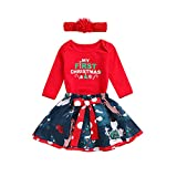 Mini Crib with Changing Table Combo Newborn Toddler Baby Kids Girls My First Christmas Romper Headband + Bow Tutu Skirt 3Pcs Outfit Clothes Set (6-12 Months, Red)