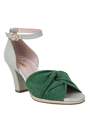 Two Tone Peep Toe (Miss L Fire Women's Evie Two-Tone Vintage Inspired Leather Peep Toe Heels (39 (8.5 US), Green))