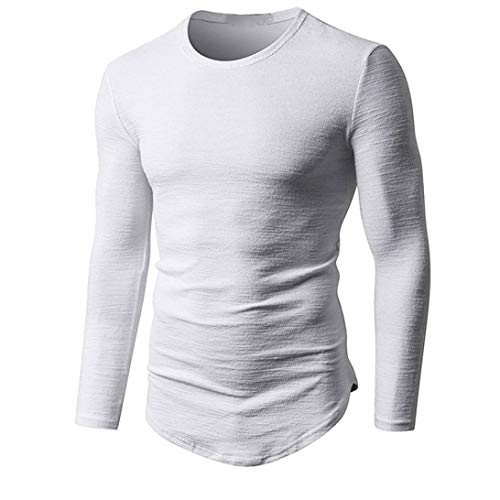 Elite Half Chaps (kaifongfu Muscle Tops for Men Long Sleeve Bottom Solid Cotton Top Autumn Men Blouse Bottoming Shirt(White,M))