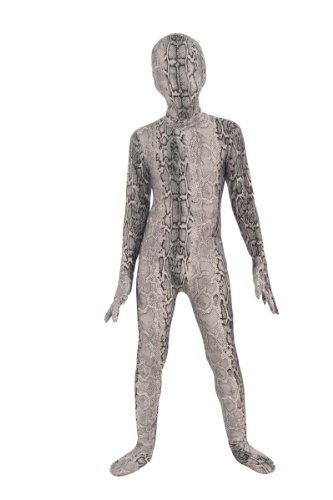 Forum Novelties I'm Invisible Costume Stretch Body Suit, Grey Snake Skin, Child Large - Kid Snake Girl