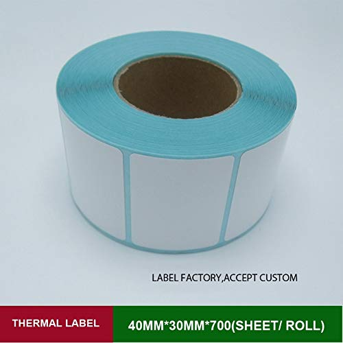 Printer Parts 40mmx30mm Thermal Barcode Sticker for Label Printer Adhesive Paper 700pcs per roll Single Row can Custom Logo Printing Papel by Yoton (Image #1)