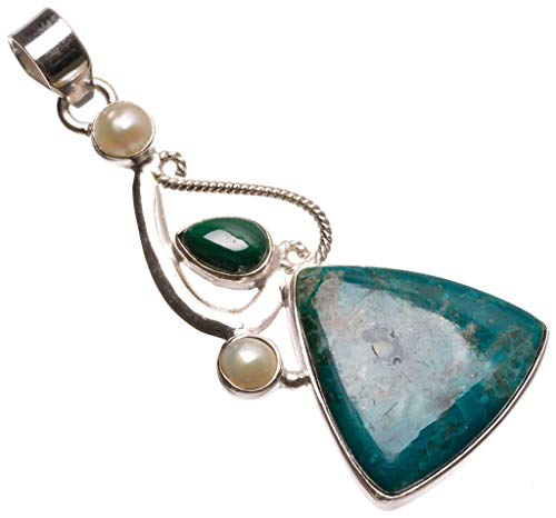 Natural Chrysocolla,Malachite and River Pearl Indian 925 Sterling Silver Pendant 2 1/4