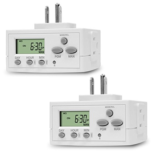 15a Lamp - TOPGREENER 2 Pack Heavy Duty TGT02 7 Day Programmable Plug-In Digital Timer for Lights, Lamps, Electrical Outlets, Indoor | Grounded Outlet, Random and Daylight Savings Timer Switch | 120V, 15A, 1800W