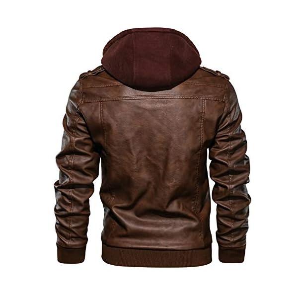 Hommes À Capuche PU Cuir Veste aviateur Moto Blousons avec Amovible Capuche Men Leather Hooded Jacket