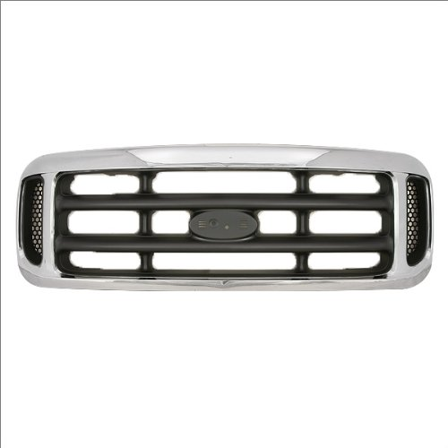 CarPartsDepot, SD Chrome Grille Frame Front Assembly Center Gray Mesh Side Screen, 400-18373 FO1200359 1C3Z8200BAA