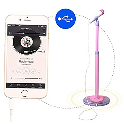 PeleusTech Childrens Karaoke Machines, Kids Karaoke Stand Microphone Adjustable Cool Music Microphone Toy with Light Effect - (Pink): Toys & Games