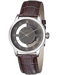 Stuhrling Original Mens 650.03 Aviator Quartz Transparent Dial Brown Leather Strap Watch