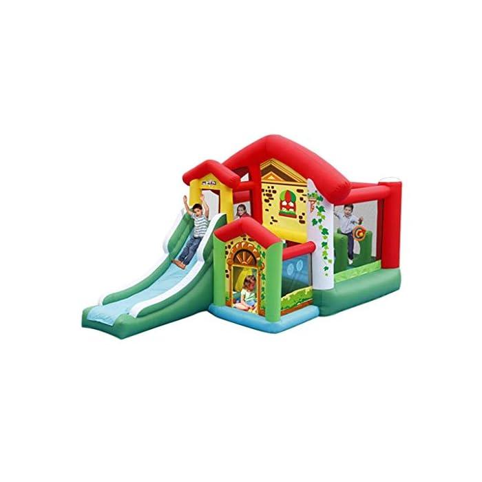 41A0mkVI68L El castillo inflable para niños tiene una gran capacidad de carga, puede acomodar a 4-6 niños al mismo tiempo para jugar al mismo tiempo e incluso puede acomodar a más niños, para que los niños puedan aumentar la interacción con otros niños, más sanos y felices al crecer. El castillo inflable para niños se puede usar en interiores, sala de estar o dormitorio, y se puede usar en exteriores, jardines, parques, jardines de infantes, parques infantiles, salidas al aire libre y otros lugares, lo que es muy conveniente, mientras que también es muy conveniente para el almacenamiento. gratis. El castillo inflable está hecho de material oxford ecológico de alta calidad. La parte inferior es de diseño grueso y antideslizante, resistente al desgaste, flexible y tiene una mayor fuerza de rebote. Al mismo tiempo, se agrega la protección de seguridad de la barra lateral y de aumento para que sus hijos jueguen.