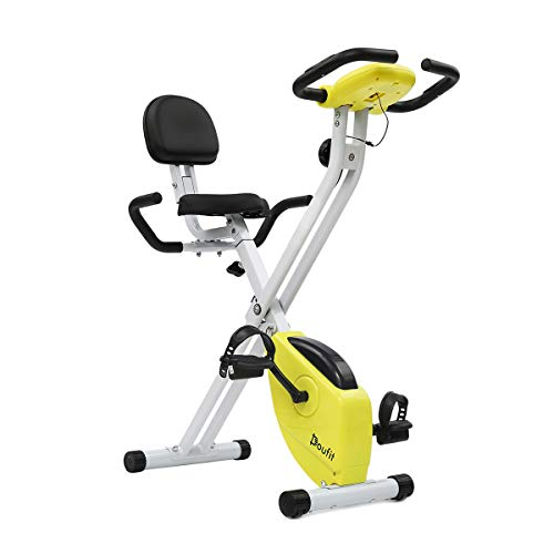Sale!! Exercise Bike Foldable with Back Support, Doufit EB-01 Adjustable Magnetic Workout Bicycle fo...