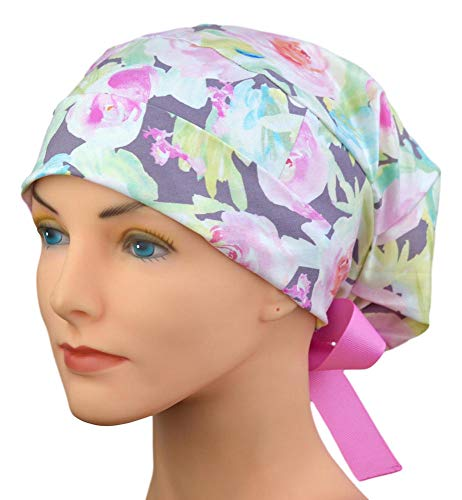 Modern Surgical Scrub Hats for Women Watercolor Roses Small