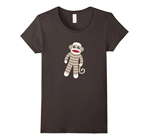 Womens Cute Classic Striped Sock Monkey T-Shirt Medium As...
