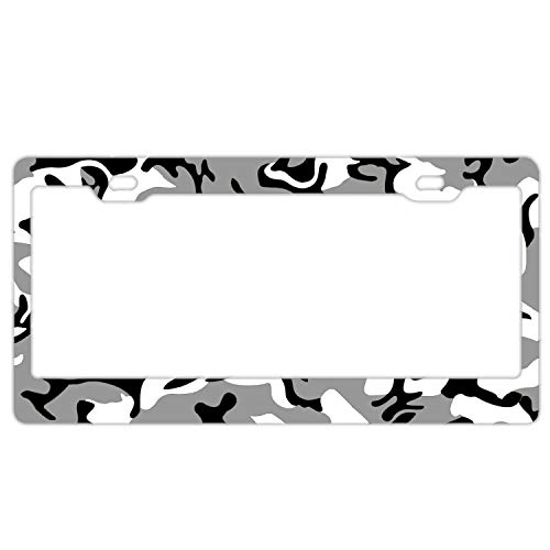 KSLIDS Car License Plate Frame,Camouflage Black White Background Alumina License Plate Covers with Free Screws Fasteners + Screw Caps Chicago Cubs White Camo