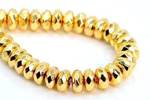 4x2MM Natural 18k Gold Hematite Beads AAA Faceted Rondelle Loose Beads 7.5
