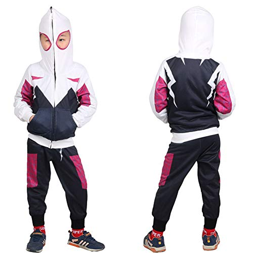 Gwen Stacy Costume,Kids Toddler Miles Morales Noir Peter Parker Hoodie Jacket Sweatshirt Costume Sets ()