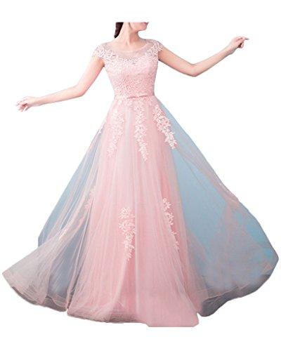 La_mia Braut Damen Navy Blau Kurzarm Spitze Abendkleider Ballkleider Brautklieder lang A-linie Rock Rosa C0F3jUv