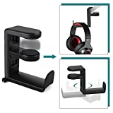 Headset Headphone Hanger Under Desk, Swivel Hook, Spring Clamp (No Adhesive Required), Klearlook Universal PC Gaming Headset Earphone Display Stand Holder, Table Mount, Built-in Cord Clip Organizer
