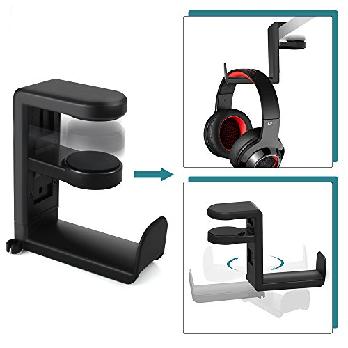 Headset Headphone Hanger Under Desk, Swivel Hook, Spring Clamp (No Adhesive Required), Klearlook Universal PC Gaming Headset Earphone Display Stand Holder, Table Mount, Built-in Cord Clip Organizer by Klearlook