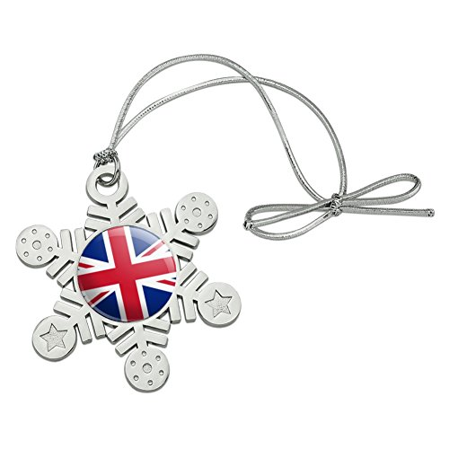 GRAPHICS & MORE United Kingdom Great Britain Union Jack Country Flag Metal Snowflake Christmas Tree Holiday Ornament