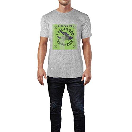 SINUS ART® Fliegender Fisch mit rotem Hintergrund Herren T-Shirts in hellgrau Fun Shirt mit tollen Aufdruck