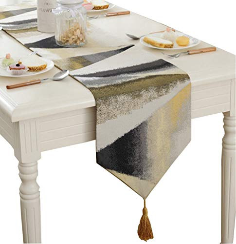 ZebraSmile Ombre Gemetric Table Runners with Tassels Polyester Jacquard Elegant Striped Fall Table Runners for Home Kitchen Dining Table Decoration, Gold 13 X 80 Inch