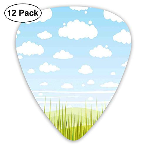 Guitar Picks 12-Pack,European Cottage Pastoral View With Grass And Clouds Idyllic Landscape