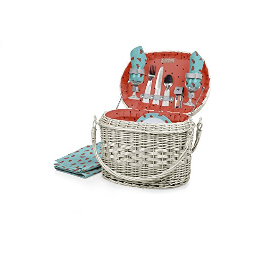 Watermelon Picnic Basket - Picnic Time Romance Willow Picnic Basket with Deluxe Service for Two, Watermelon Collection