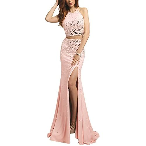 Erosebridal Luxury Crystal Prom Dress Halter Neck Mermaid Long Evening Party Gown hot sale