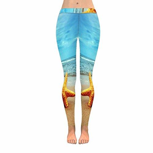 InterestPrint Summer Starfish on Tropical Beach Sunset Stretchy Capri Leggings Skinny Yoga Sports Pants Extra Large
