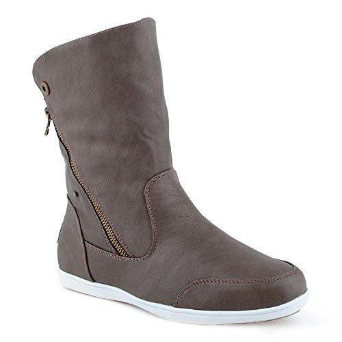 Damen Stiefeletten Schlupf Stiefel Reißverschluss Warm Gefüttert Boots Schuhe Taub EU 40