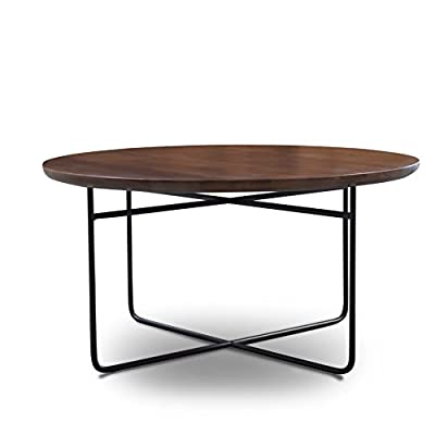Gingko Home Furnishings OMR-650-CW Omar Round Coffee Table, Classic Walnut, Black Base, 30 x 30 x 15, Multicolor - A lovely addition to any kitchen, family room, dining room or den It features elegant scroll work, with beautiful decorative leaf and medallion casting accents Manufactured in China - living-room-furniture, living-room, coffee-tables - 41A0pYqE9CL. SS400  -