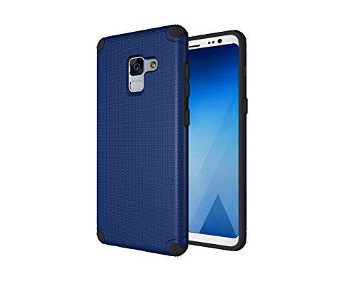 Samsung Galaxy A8 (2018) Funda, Ultra delgado Antideslizante A prueba de choques Doble capa [Soft TPU + PC dura] Protector Phone Cover con hierro a Magnético Soporte para coche para Samsung Galaxy A8  Azul