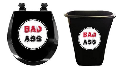 New Black 2 Piece Set! Trash Can and Molded Wood Round Toilet Seat featuring Bad Ass - Bad Hinges Ass
