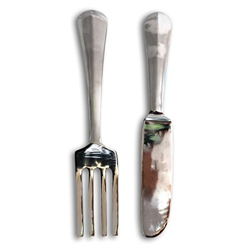 The Crosby Street Chic Knife and Fork Sculpture, Oversized Wall Art, Handcrafted, Polished Silver Aluminum, 23 ¼ x 4 ½ Inches, (59 x 11.5cm), By Whole House Worlds