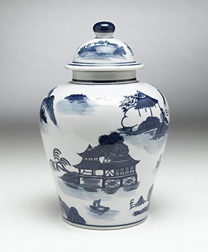 Zeckos AA Importing 59731 Blue and White Ginger Jar with Lid