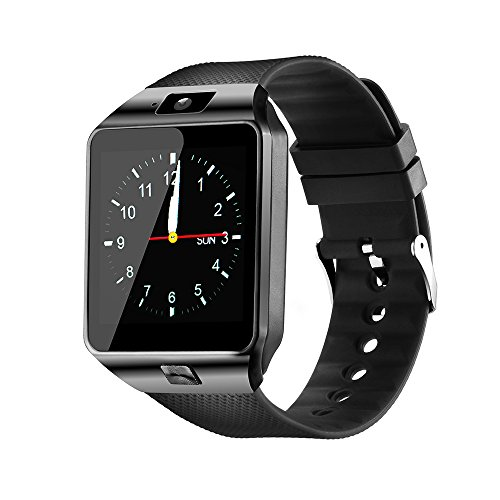 YIIXIIYN Smart Watch DZ09 Touchscreen Bluetooth Smartwatch Phone Sports Fitness Tracker with SIM SD Card Slot Camera Pedometer Compatible iPhone iOS Samsung LG Android for Women Men Kids (Black)