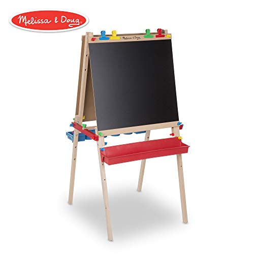 Melissa & Doug Deluxe Wooden Standing Art Easel, Arts & Crafts, Multiple-Use Easel, Chalkboard, Dry-Erase Board, Paper-Roll Holder, 47″ H × 27″ W × 26″ L - Masterpiece Painting Set