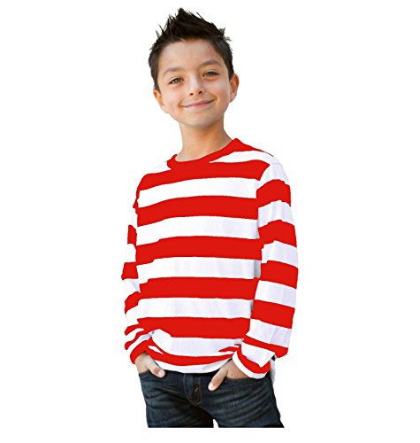 Child/Teen Long Sleeve Striped Shirt Red White ()