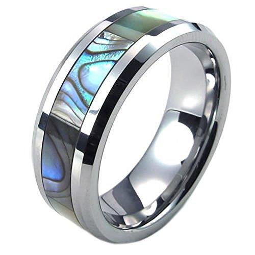 KONOV Mens Abalone Tungsten Silver