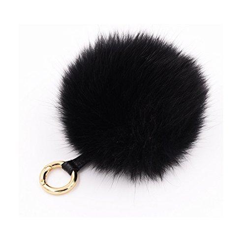 Miraclekoo Fox Fur Keyring Gold Plated Key Ring Bag Charm with Plush for Handbag Decoration (black)