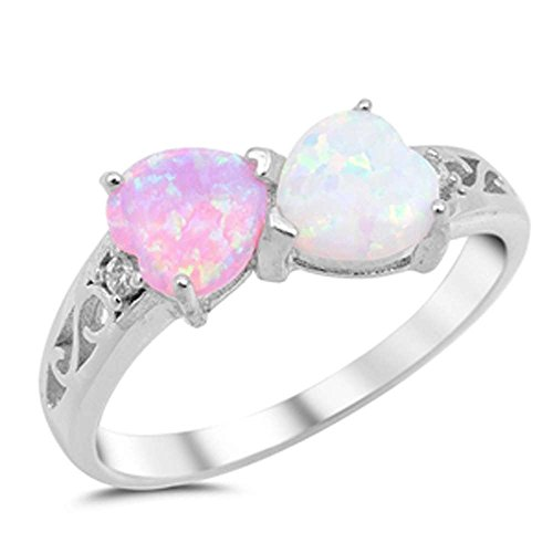 Heart Lab Created Pink Opal & Lab Created White Opal .925 Sterling Silver Ring Size ()