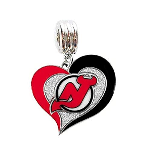 Heavens Jewelry NJ New Jersey Devils Hockey Team Heart Charm Slide Pendant for Your Necklace European Charm Bracelet (Fits Most Name Brands) DIY Projects ETC ()