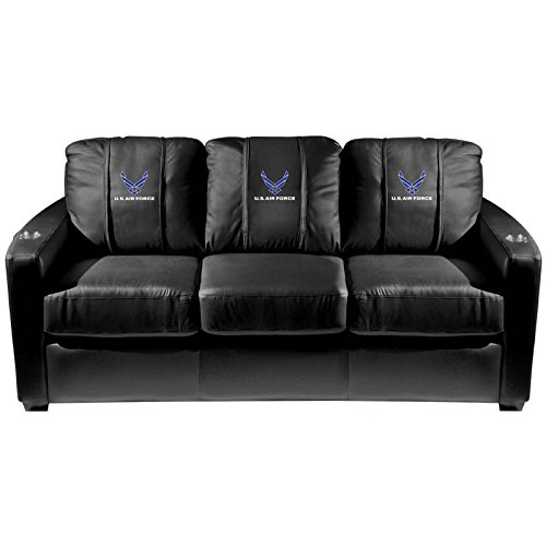 XZipit Armed Forces Silver Sofa with Air Force Logo Panel, Black