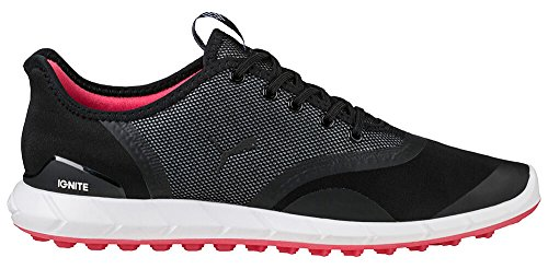 PUMA Golf Women's Ignite Statement Low Golf Shoe, Black/White, 8 Medium US