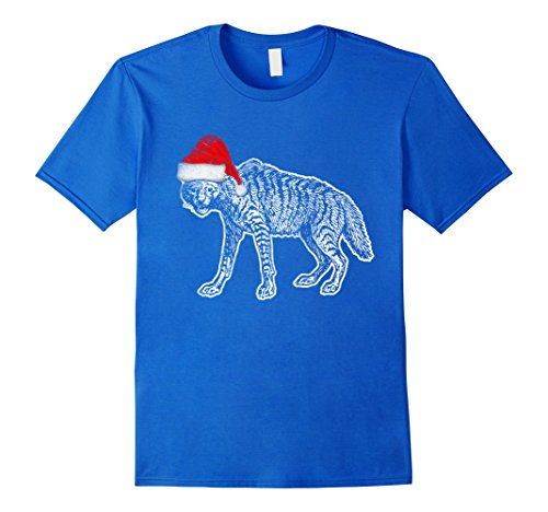 Hyena Costumes (Mens Santa Hat Hyena Costume Funny T Shirt Christmas Safari Gift 3XL Royal Blue)