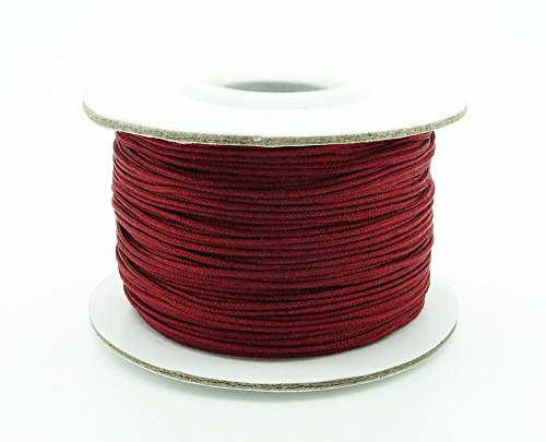 MAROON 0.8mm Chinese Knot Nylon Braided Cord Shamballa Macrame Beading Kumihimo String (50yards Spool)