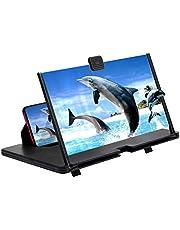 AnCoSoo 12 inch scherm vergrootglas voor mobiele telefoons-3D HD-scherm vergrootglas voor films, video's en games-High-tech geschenken voor mannen-compatibel met alle smartphones (zwart-12 inch)